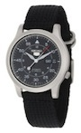 Seiko Mens SNK809 Seiko 5 Automatic Watch with Black Canvas Strap